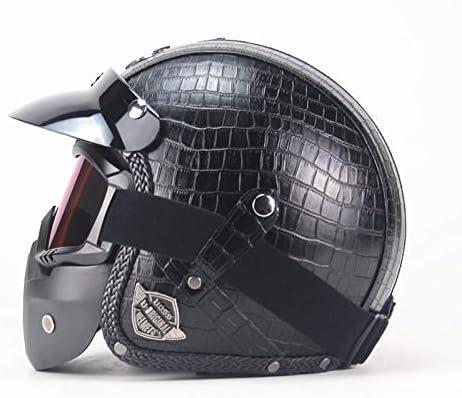 PU Casco Moto Jet ECE Homologado Casco Moto Abierto Custom Scooter para Mujer Hombre Adultos con Visera edición Limitada,B,M=(57~58CM)