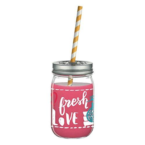 RITZENHOFF Make It Take It - Bicchiere per smoothie Virginia Romo, in vetro, 450 ml, con due cannucce biologiche colorate e due coperchi a vite