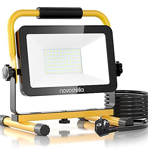 Novostella LED Baustrahler 60W 6000LM (Ersetzt 450W) LED Arbeitsscheinwerfer Baulampe, IP65 Wasserdicht 3030 LED 5M Kabel 6000K Tageslichtweiß, Bauscheinwerfer für Werkstatt Baustelle Garage