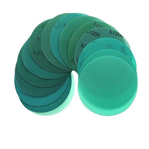 UIOXAIE Cinturón de arena Discos de lijado de 5 pulgadas Papel de lija de gancho y bucle Green Line con respaldo de película de poliéster húmedo y seco para pintura de automóviles, madera o metal, 2