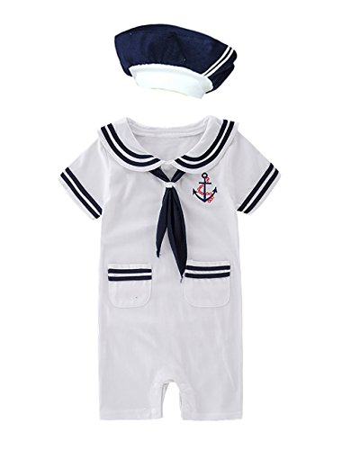XM Nyan May's Baby Toddler Boys Sailor Stripe Romper Marine Navy Romper Outfit