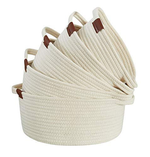 DECOMOMO Cotton Rope Baskets Woven Foldable Storage Bin with Handles   Great for Nursery/Toys/Stationary/Makeup/Kitchen (White, Various Size - 5 Pack)