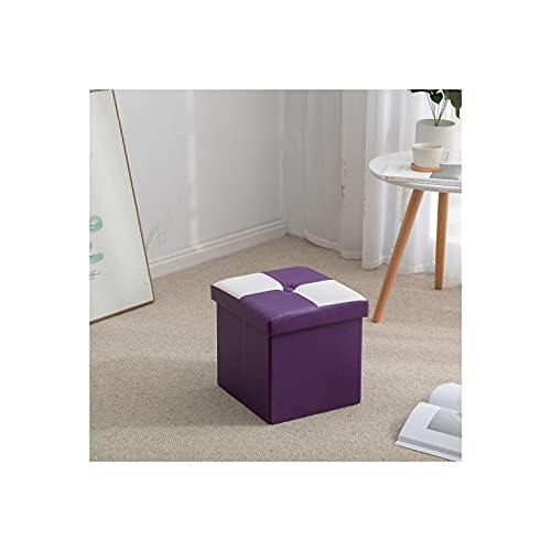 Plegable Otomana Caja De Almacenamiento Asiento,Impermeable Cuero Sintético Taburete Tapizado con Almacenaje Moderno Sala Sofá Puf Reposapiés-púrpura-Pequeño