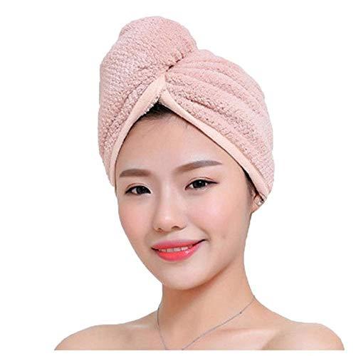 Magic Microfiber Hair Secador de Secado rápido Toalla Abrigo de baño Sombrero Gorro rápido Turbante Sombrero de Piscina seco Gorro de baño Giro Envoltura de Cabeza - Rosa