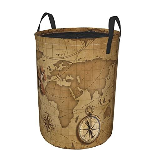 Cesta de lavandería grande,Avión de madera sobre el mapa náutico muCesto de ropa plegable de tela con asas, bolsa de ropa plegable impermeable para sala de juguetes, 35,5 cm x 48,3 cm