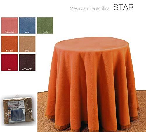 mantel Falda para Mesa Camilla Redonda Hogar Decorativa Invierno de 100% acrílico Medidas (Cobre, 90cm)