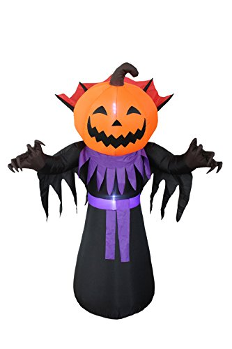 6 Foot Tall Halloween Inflatable Pumpkin Head Monster with Vampire Collar LED Lights Decor Outdoor Indoor Holiday Decorations, Blow up Lighted Yard Decor, Giant Lawn Inflatables Home Family Outside