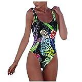 Heetey - Bikini para mujer, 1 pieza, impresión digital, bikini, bañador sin espalda, sin mangas, para vacaciones, playa azul M