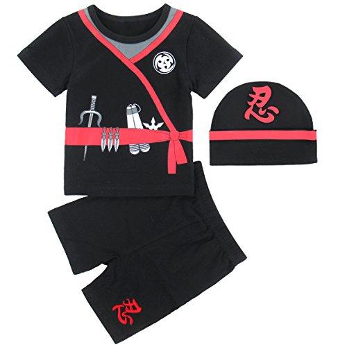 MOMBEBE COSLAND Disfraz Ninja Bebé Niño Conjunto de Camiseta Manga Corta (0-6 Meses, Ninja)