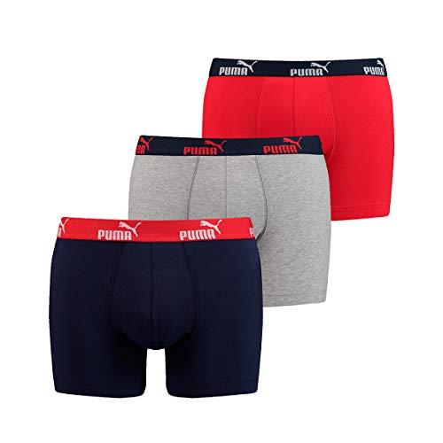 Puma Boxershorts Unterhosen Shorts Promo Boxer 681005001 3er Pack, Farbe:Mehrfarbig, Wäschegröße:L, Menge:3er Pack (1x 3er), Artikel:-518 Dark red/Blue