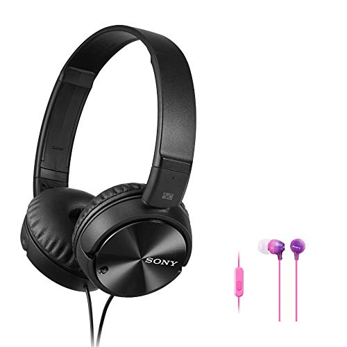 Sony MDRZX110NC Noise Cancelling Headphones (Black) Bundle with MDR-EX15AP EX Series Earbuds with Mic (2 Items)