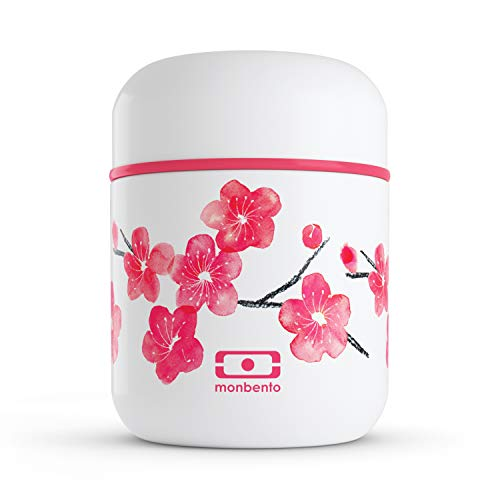 monbento - MB Capsule Graphic Blossom Pequeña Fiambrera térmica Rosa/Rojo/Blanco - Fiambrera bento Box térmica - sin BPA - Segura y Duradera