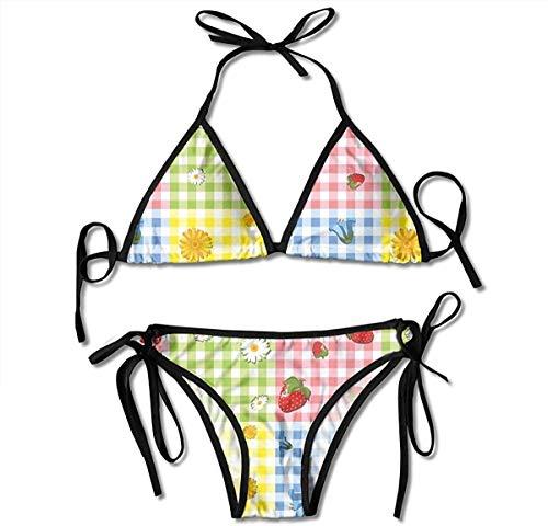 Conjunto de bikini ajustable Halter Traje de baño para mujer, patrón de colores con fresas, manzanilla, campanillas azules y diseño de picnic de caléndula, traje de baño de playa con cuello halter