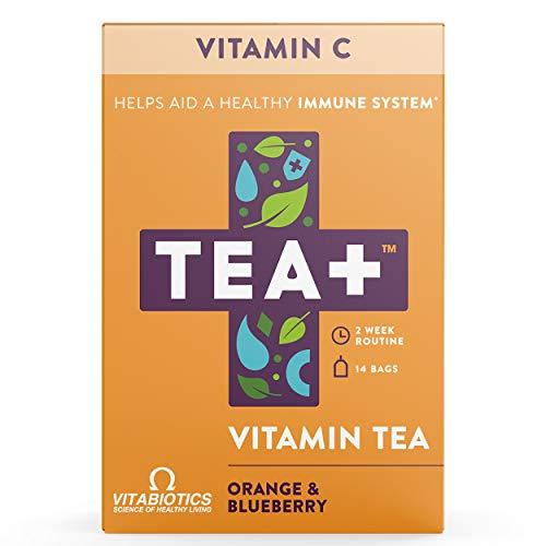 TEA+ (Tea Plus) - Defence - Té de Vitamina C - Bolsitas de té verde con suplemento de equinácea - Sabor a naranja y arándano - 2 Paquetes de 14 unidades