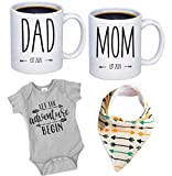 Pregnancy Gift Est 2020 - New Mommy and Daddy Est 2020 11 oz Mug Heart Set with'Let Adventurer Begin' Romper (0-3 Months) - Top Mom and Dad Gift Set for New and Expecting Parents to Be - Baby Shower