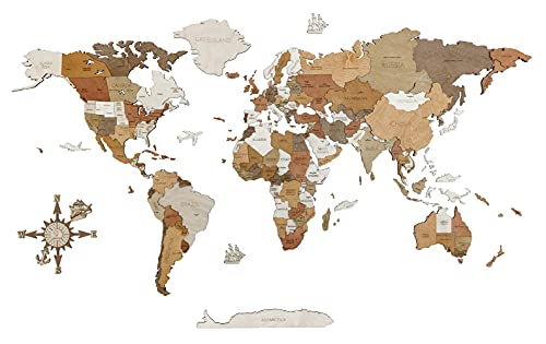 Mappa del mondo in legno per la decorazione delle pareti - Legno tinto multicolore, multistrato, nomi incisi - effetto 3D unico - per soggiorno, ufficio o camera da letto XL (200x115 cm)