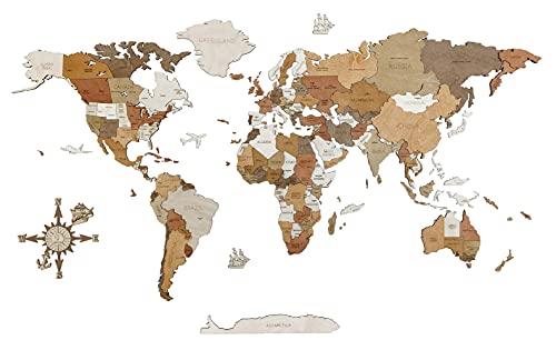 Carte du monde en bois pour décoration murale - bois teinté multicolore, multicouches, noms gravés - Effet 3D unique - Pour salon, bureau ou chambre (XL (200x105 cm) - Adventurer)