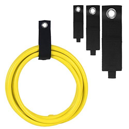 Cnloyua 10 piezas de bridas negras, correas de almacenamiento de cables de alta resistencia, bridas reutilizables, sujetador de gancho y bucle para cables, mangueras, cuerda, bolsa (M + L + XL)