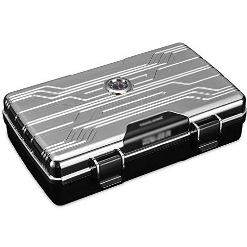 FxsD Zigarrenschachtel, PE-Material Zigarren-Humidor Tragbare Zigarre Liebhaber Reisen Zigaretten-Etui, mit Feuchtigkeit und Luftbefeuchter, aufnehmen kann 10 Zigarren, 3 Farben ## (Color : Silver)