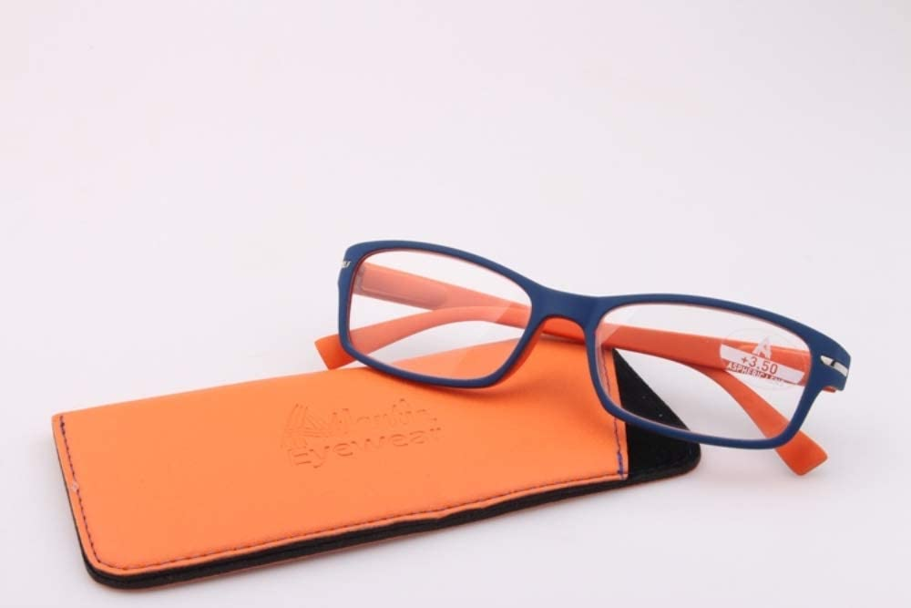 Atlantic Eyewear AE0056 Stylish Navy Blue and Orange Reading Glasses Supplied with Matching Soft Pouch +2.00