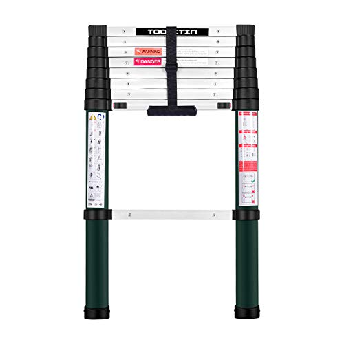 Toolitin Telescoping Ladder85 FT One Button Retraction Aluminum Telescopic Extension LadderSlow Down Design Extendable Ladders Portable Best for Household Daily or RV Work330 Pound Capacity…