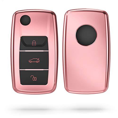 kwmobile Funda para Mando Compatible con VW Skoda Seat Llave de Coche de 3 Botones - Funda TPU Llave con Botones de Llave de Auto - Rosa Oro Brillante