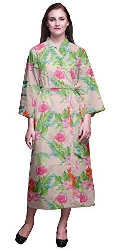 Bimba Salmon Rosa Claro Floral Flamenco, Las Hojas y el Lirio de Agua Bata para Mujer Bata Larga Novia preparándose Camisa Impresa Bata de baño Niñas XL