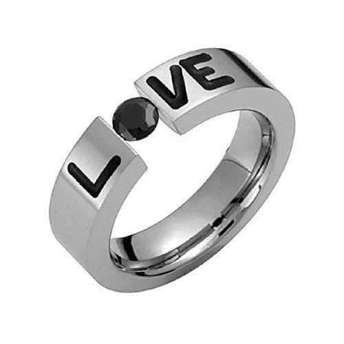 Alain Raphael Titanium Ring with Black Cubic Zirconia Tension Set Round Cut 5.5mm Wide Wedding Band Black Titanium Tension Rings