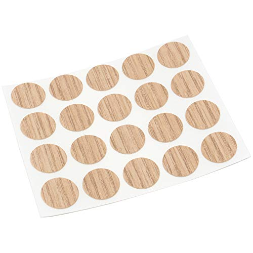 Adsamm® | 20 x Abdeckkappen | Ø 13 mm | Eiche hell | rund | 0,45 mm dünne selbstklebende Möbelpflaster von Adsamm®