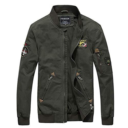 jin&Co Bomber Jacket Men Lightweight Full Zip Multi-Pocket Casual Flying Military Jacket Windbreaker Outercoat Plus Size Army Green