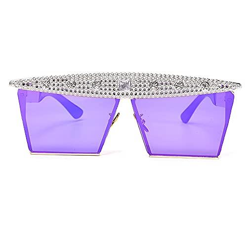 FENGHUAN Moda Zircon Square Rhinestones Gafas de sol Mujeres Hombres LujoVintage Crystal Gafas de sol Espejo Rosa Negro 20