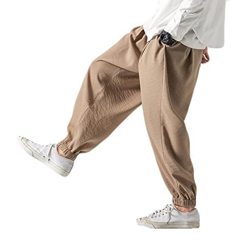 Feidaeu Pantaloni da Jogging da Uomo Stile Quotidiano Primavera e Autunno Stile Harajuku Pantaloni Larghi Casuali Aderenti alla Pelle in Tinta Unita