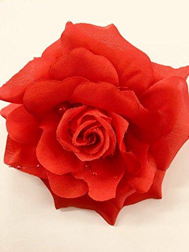 """12 x Red Flower Hair Clips/Hair Flowers Bows Girls Hair Accessories Corsage Brooch Pins,Women Flower Headwear Wedding Party Gift Flower Hair Clip 5"""" / Dance Flower Hair/Bridal Hair/"""