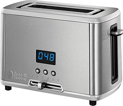 Russell Hobbs Compact Home Small Toaster, One Slice with Digital Countdown Display, Stainless Steel, 24200