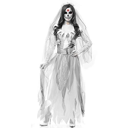 YYXDP Disfraces De Halloween para Mujeres, Disfraz De Novia Fantasma Aterrador para Adultos, Disfraz De Zombi Cosplay, Disfraz De Demonio Vampiro para Escenario De Bar