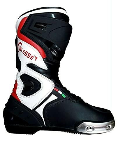 BS MOTO - Stivali Moto Pista Sport Racing, in Pelle Pista Professionale Traspirante (Nero/Rosso/Bianco, 41)