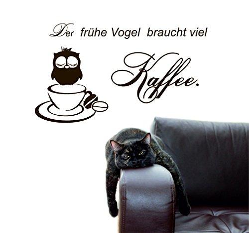 greenluup wandtattoo Sprüche Spruch der frühe Vogel braucht viel Kaffee in BRAUN KÜCHE ESSZIMMER BÜRO Laden Cafe TEEKÜCHE ARBEITSZIMMER