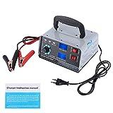 Qiilu Cargador de batería de coche, 400W 12V/24V Cargador de batería de coche automático Reparación de pulso inteligente Carga con pantalla LED(Enchufe de la UE)