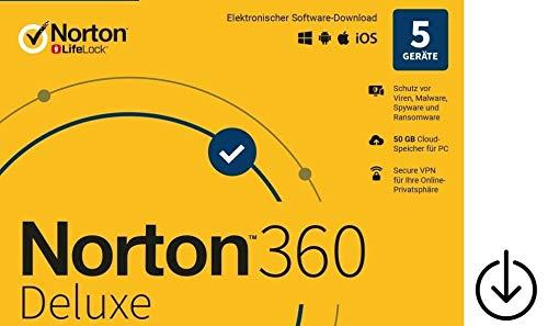 Norton 360 Deluxe 2020|OHNE ABO|keine Kreditkarte oder PayPal erforderlich|5Geräte|1Jahr|Aktivierungscode per Post [Lizenz][KEINE CD][NO