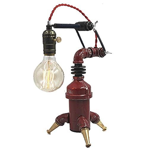 LLLKKK Lámpara de mesa sencilla y creativa, de hierro y metal, estilo vintage, industrial, steampunk, lámpara de escritorio retro, robot, luz para dormitorio, salón, loft, bombilla E27,