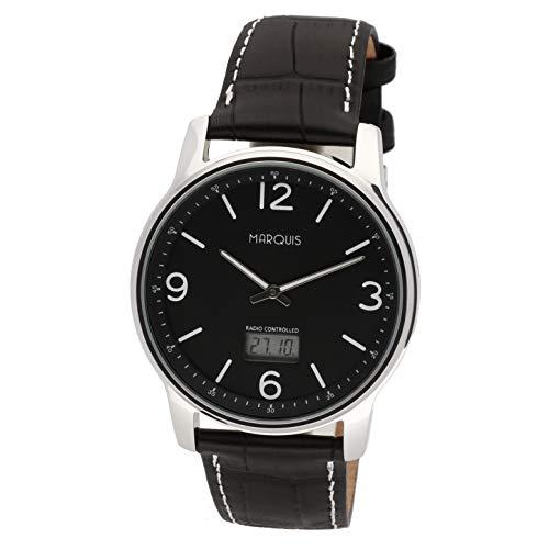 MARQUIS Herren Armbanduhr Funkuhr Schwarzes Lederarmband mit Edelstahlverschluss Edelstahlgehäuse 4719-135