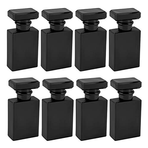 Foraineam 8 Pack 30ml / 1 oz. Black Refillable Perfume Bottles, Portable Square Empty Glass Perfume Atomizer Bottle with Spray Applicator