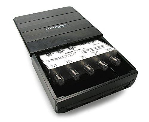 Metronic 414142Amplificador TV con Filtro LTE, Negro
