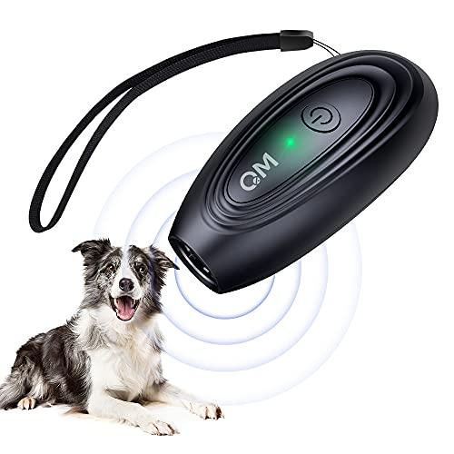 Queenmew Anti-Barking-Gerät für Hunde, Stop Dog Barking-Gerät 16,4 Fuß Reichweite LED-Anzeige Hundetraining Sonic Bark Abschreckungsgerät, wiederaufladbarer Hundestopper Indoor Outdoor-Gebrauch