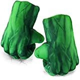 Kids Superhero Costume Smash Hands, 1 Pair Soft Plush Incredible Boxing Gloves Ages3+ Boys, Girls, Toddler for Christmas, Halloween, Birthday, Party Gift (Green)