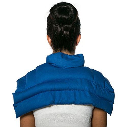 Leinsamenkissen Schulter & Nackenkissen mit Kragen. Gute Wärme für den Nacken. Eine Alternative zum Nackenhörnchen | Bio-Stoff enzianblau