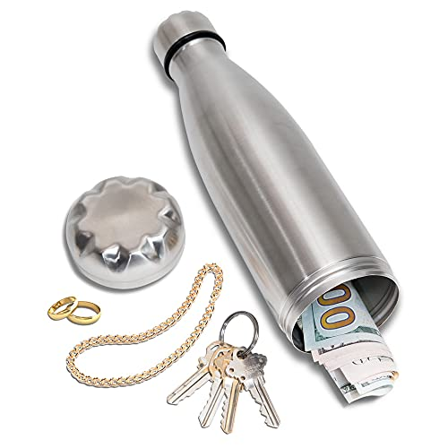 Diversion Water Bottle Can Safe by Stash-it, Stainless Steel Tumbler with Hiding Spot for Money, Discreet Decoy for Travel or at Home, Bottom Unscrews to Store your Valuables