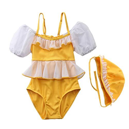Traje de baño de una pieza para niñas de 3 a 8 años, con dobladillo de encaje, cuello barco, manga corta + gorro de natación