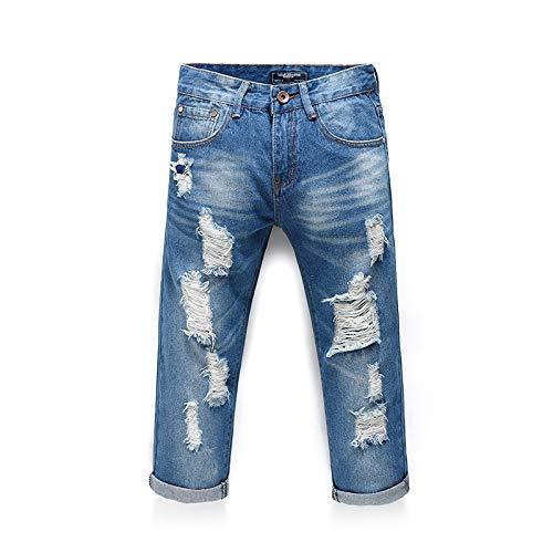 Pantalones Cortos de Mezclilla para Hombre Pantalones Cortos de Mezclilla elásticos Informales Lavados de Verano Pantalones Vaqueros Rasgados con Personalidad de Moda 28