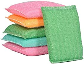 Prime hub Multi Colour Foam Pad Sponge Scrubber Kitchen Scrubber for Dish/Utensils/Tiles Cleaning Heavy Quality (Set of 6)